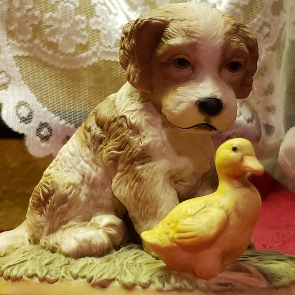 Vtg Dog Puppy & Duck Duckling Porcelain Figurine